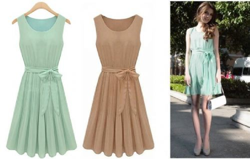 Women Girl Chiffon BOHO Pleated Skirt Skater Sleeveless Summer Dress